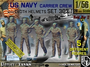 1/56 USN Carrier Deck Crew Set303-1 in Smooth Fine Detail Plastic