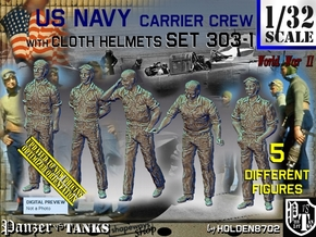 1/32 USN Carrier Deck Crew Set303-1 in Smooth Fine Detail Plastic