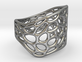 Lattice055 Ring in Natural Silver