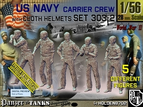 1/56 USN Carrier Deck Crew Set303-2 in Smooth Fine Detail Plastic