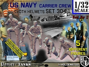 1/32 USN Carrier Deck Crew Set304-1 in Smooth Fine Detail Plastic