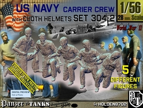 1/56 USN Carrier Deck Crew Set304-2 in Smooth Fine Detail Plastic