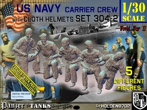 1/30 USN Carrier Deck Crew Set304-2 in White Natural Versatile Plastic