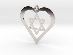 Star in Heart Pendant in Rhodium Plated Brass