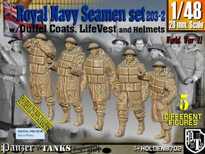 1/48 Royal Navy D-Coat+Lifevst Set203-2 in Smooth Fine Detail Plastic