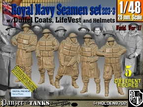 1/48 Royal Navy D-Coat+Lifevst Set203-3 in Smooth Fine Detail Plastic