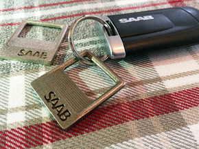 SAAB - Key Ring Pendant Bottle Opener in Polished Nickel Steel