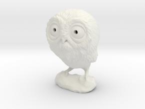 3DP Owl Miniature in White Natural Versatile Plastic