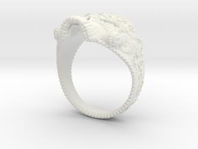 Filigree Skull Ring in White Premium Versatile Plastic: 6 / 51.5