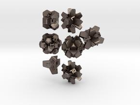 Brutalist Dice Set — Version 2 (7 pc.) in Polished Bronzed Silver Steel