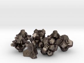 Brutalist Dice Set — Version 2 (8 pc.) in Polished Bronzed Silver Steel
