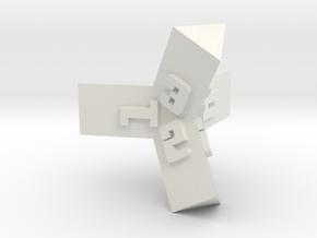 Brutalist Dice Set — Version 1 Singles in White Natural Versatile Plastic: d4