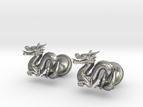 Dragon Cufflinks in Natural Silver