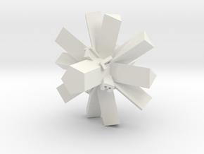 Brutalist Dice Set — Version 1 Singles in White Natural Versatile Plastic: d10