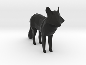 Low Poly Foxy in Black Natural Versatile Plastic: Small