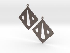Dota II Earrings in Polished Bronzed Silver Steel