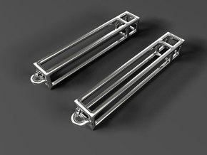 Rectangular Prism Drop Earrings in Fine Detail Polished Silver
