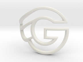 G-bicycle front logo - height 27mm - diameter 42mm in White Natural Versatile Plastic