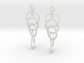 Ring Earrings (rotating) in White Premium Versatile Plastic
