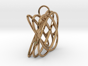 Basket - Pendant in Polished Steel and Polished Ca in Polished Brass