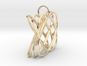 Basket - Pendant in Polished Steel and Polished Ca in 14k Gold Plated Brass