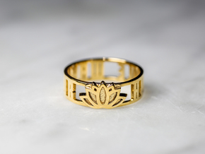 Humble Warrior w/ Lotus Flower, 14k Gold Plated in 14k Gold Plated: 7 / 54
