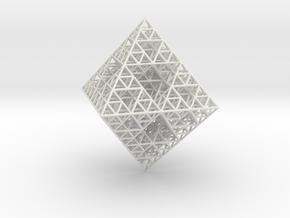 Wire Sierpinski Octahedron in White Natural Versatile Plastic