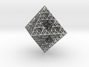 Wire Sierpinski Octahedron in Natural Silver