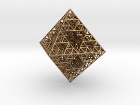 Wire Sierpinski Octahedron in Natural Brass