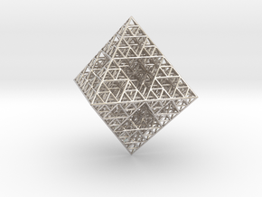 Wire Sierpinski Octahedron in Rhodium Plated Brass
