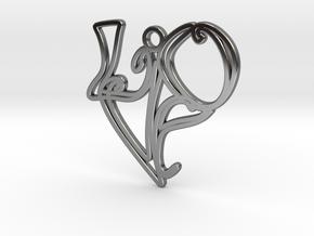 Love Earring (Harrington Font) in Fine Detail Polished Silver