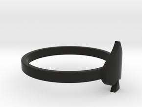 Spade Charm Ring, Matte Black Steel in Black Premium Versatile Plastic: 4 / 46.5