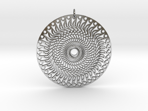 African Sun Pendant in Fine Detail Polished Silver