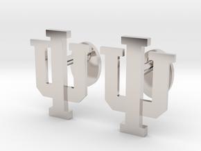Indiana Univ Cufflinks in Rhodium Plated Brass