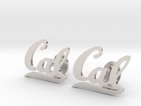 Cal Berkeley Cufflinks, Customizable in Platinum