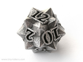 Faceted - D12, twelve sided gaming dice in Polished Bronzed Silver Steel