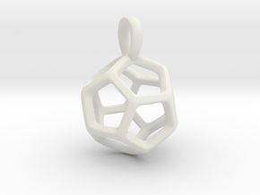 Dodecahedron Platonic Solid Pendant in White Natural Versatile Plastic