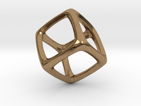 Hexahedron Platonic Solid  in Natural Brass