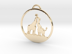 Giraffes Kissing Necklace in 14k Gold Plated Brass