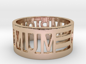 Mum is Champion Ring in 14k Rose Gold Plated Brass