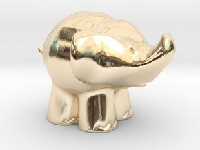 Cute Elephant in 14K Yellow Gold: Extra Small