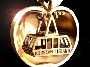 Slice of Big Apple with Roosevelt Island Tram in Polished Gold Steel