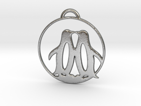 Penguins Kissing Necklace in Natural Silver