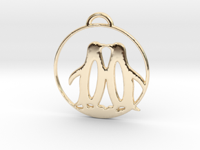 Penguins Kissing Necklace in 14K Yellow Gold