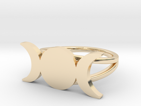 Triple Moon Ring in 14k Gold Plated Brass: 6.5 / 52.75