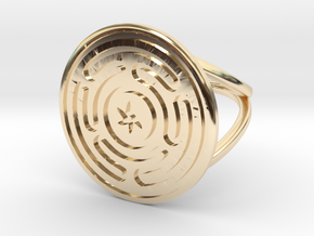 Wheel of Hecate ring in 14k Gold Plated Brass: 7 / 54