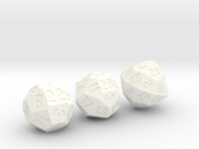 [2018] Set of 3 Dice: d22, d26, and d28 in White Processed Versatile Plastic