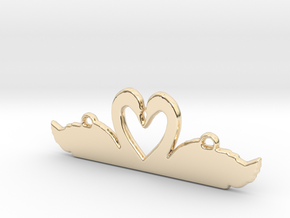 Swans Heart Necklace in 14K Yellow Gold