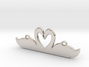 Swans Heart Necklace in Rhodium Plated Brass