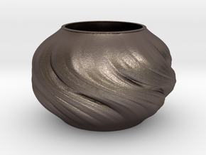Vase D0203 in Polished Bronzed Silver Steel